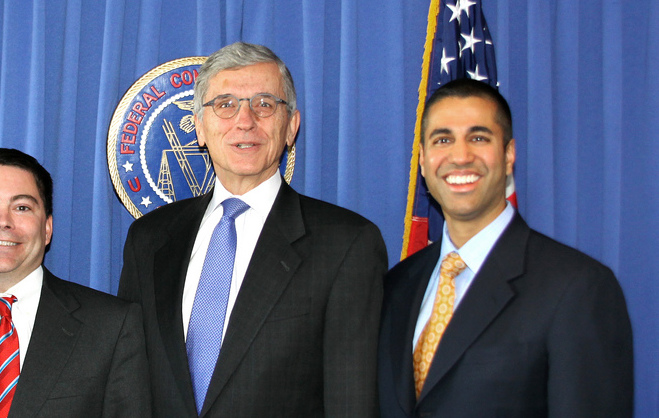 Ajit Pai and Tom Wheeler at FCC.